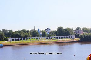 View of Ancient Torg and Yaroslavovo Dvorishche, V. Novgorod, Russia