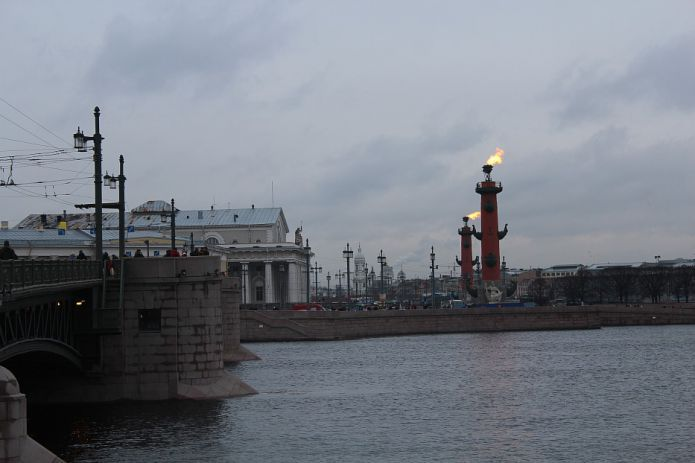 Palace Bridge, Vasilyevsky Island and Rostral Columns - St. Petersburg, Russia